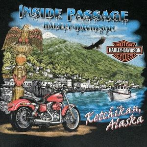 Harley-Davidson motorcycles Alaska retro cotton T